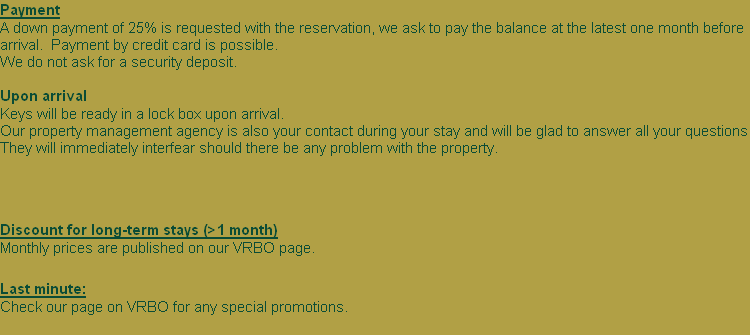Discount for long-term stays (>1 month) 